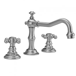 Jaclo 7830-T678 Roaring Twenties Widespread Faucet with Cross Handles and Pop-Up Drain for Exposed Applications